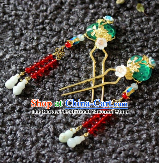 Handmade Chinese Ancient Green Grass Tassel Hairpins Traditional Hair Accessories Headdress for Women