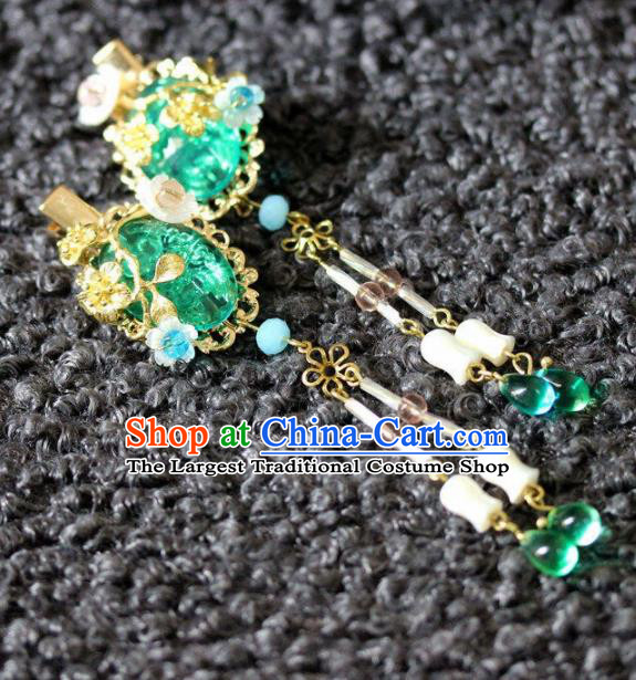 Handmade Chinese Ancient Green Grass Hair Claws Traditional Hair Accessories Headdress for Women