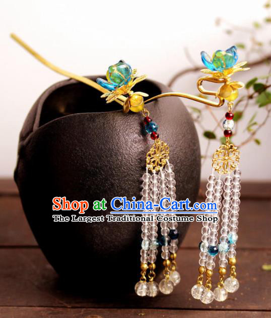 Handmade Chinese Ancient Princess Beads Tassel Hair Clips Hairpins Traditional Hair Accessories Headdress for Women