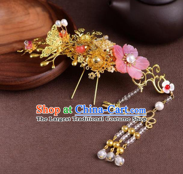 Handmade Chinese Ancient Princess Flower Hair Comb Hairpins Traditional Hair Accessories Headdress for Women