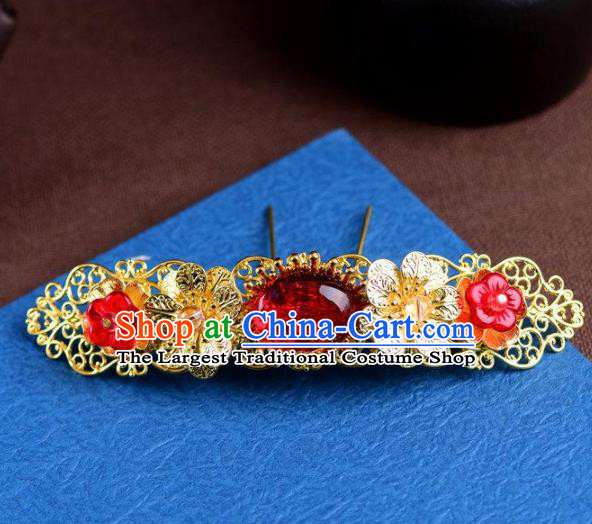 Handmade Chinese Ancient Princess Red Glass Hairpins Traditional Hair Accessories Headdress for Women