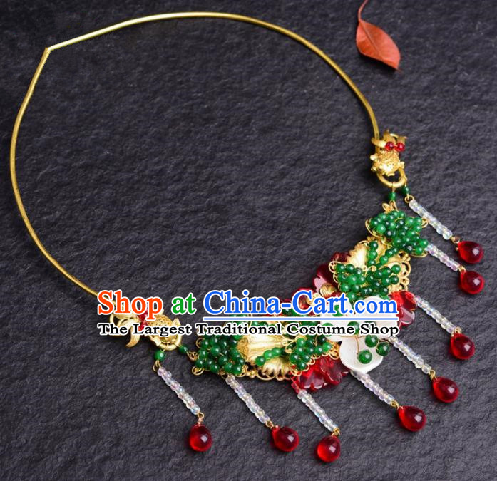 Top Grade Chinese Handmade Blue Beads Necklace Traditional Bride Jewelry Accessories for Women
