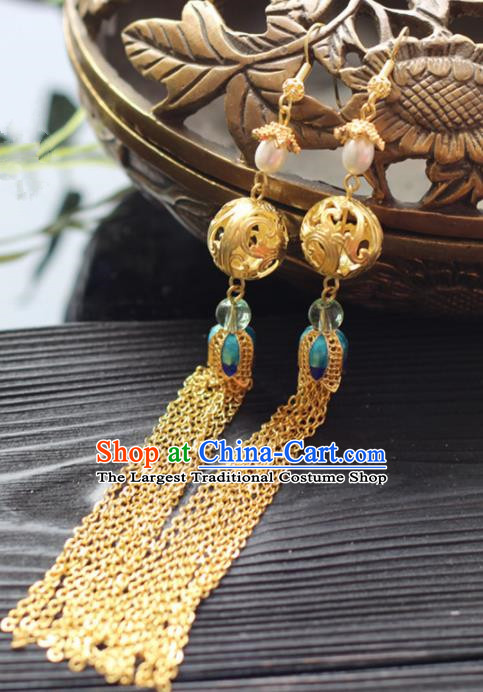 Chinese Handmade Hanfu Golden Tassel Earrings Traditional Ancient Palace Ear Accessories for Women