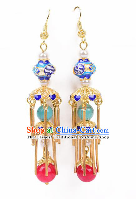 Chinese Handmade Hanfu Blueing Earrings Traditional Ancient Palace Ear Accessories for Women