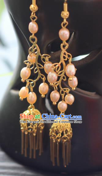 Chinese Handmade Hanfu Pearls Earrings Traditional Ancient Palace Ear Accessories for Women
