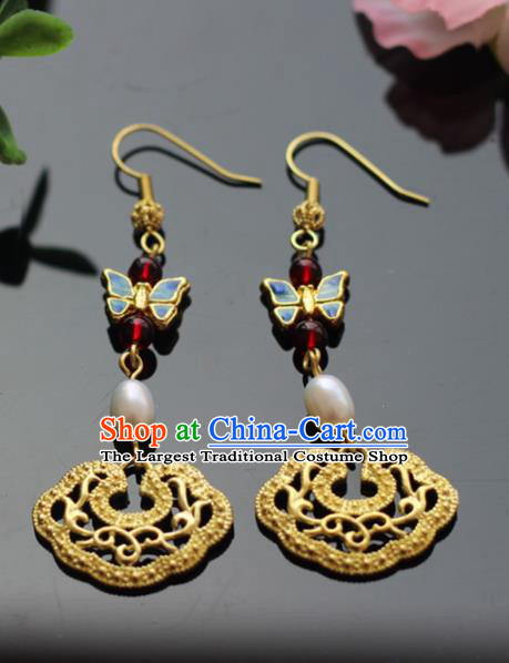 Chinese Handmade Hanfu Butterfly Earrings Traditional Ancient Palace Ear Accessories for Women