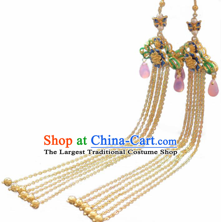 Chinese Handmade Hanfu Cloisonne Earrings Traditional Ancient Palace Ear Accessories for Women