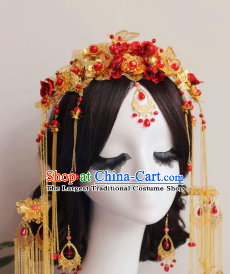 Handmade Chinese Ancient Wedding Hair Crown Hairpins Traditional Hair Accessories Headdress for Women
