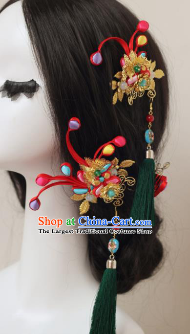 Handmade Chinese Ancient Wedding Tassel Hair Claws Traditional Hair Accessories Headdress for Women