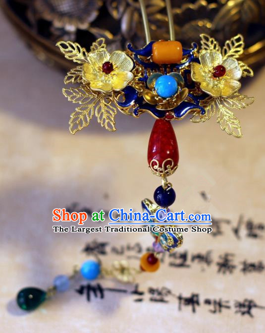 Handmade Chinese Ancient Palace Tassel Hairpins Traditional Hair Accessories Headdress for Women