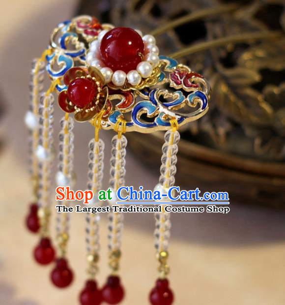 Handmade Chinese Ancient Palace Blueing Tassel Hairpins Traditional Hair Accessories Headdress for Women
