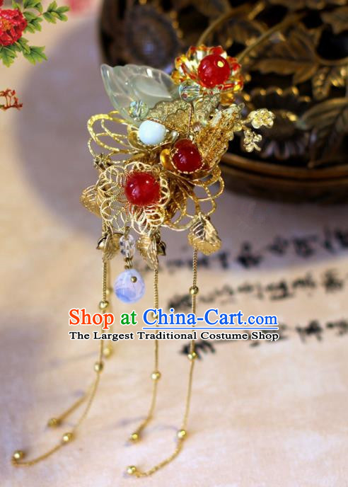 Handmade Chinese Ancient Palace Golden Tassel Hairpins Traditional Hair Accessories Headdress for Women