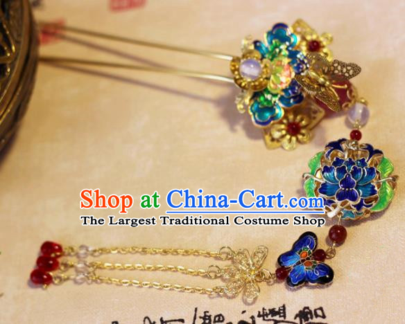 Handmade Chinese Ancient Palace Blueing Lotus Tassel Hairpins Traditional Hair Accessories Headdress for Women