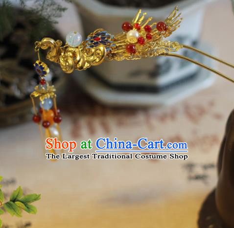 Handmade Chinese Ancient Bride Phoenix Tassel Hairpins Traditional Hair Accessories Headdress for Women