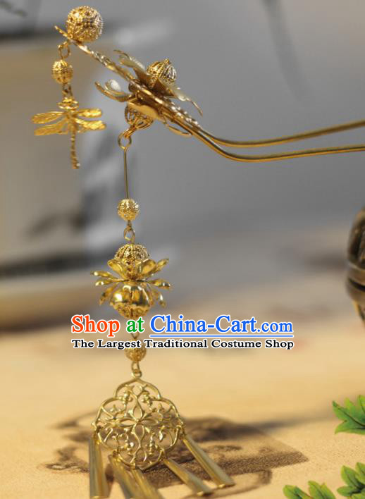 Handmade Chinese Ancient Bride Golden Dragonfly Tassel Hairpins Traditional Hair Accessories Headdress for Women