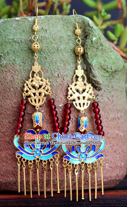 Chinese Handmade Hanfu Blueing Tassel Earrings Traditional Ancient Palace Ear Accessories for Women