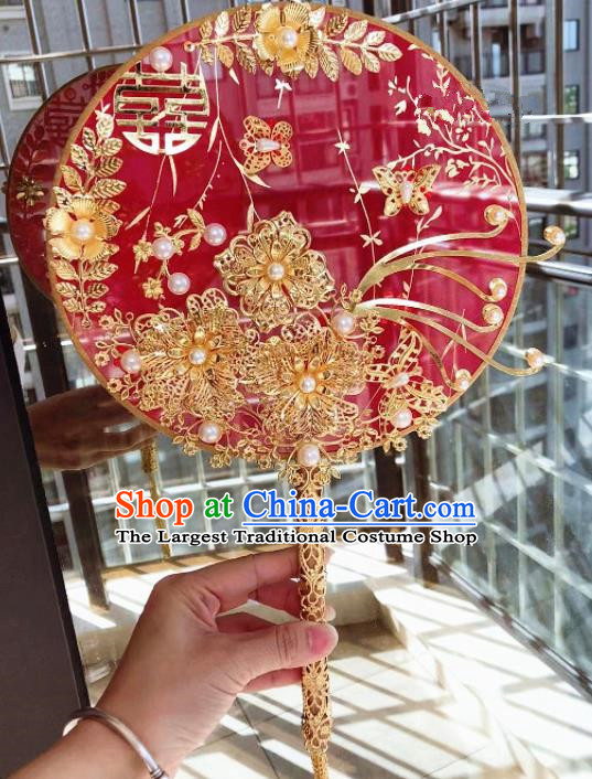 Chinese Handmade Bride Red Silk Palace Fans Wedding Accessories Classical Round Fan for Women