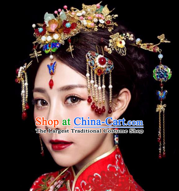 Handmade Chinese Ancient Princess Phoenix Coronet Blueing Hairpins Traditional Hair Accessories Headdress for Women