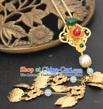 Handmade Chinese Ancient Princess Golden Leaf Tassel Hairpins Traditional Hair Accessories Headdress for Women