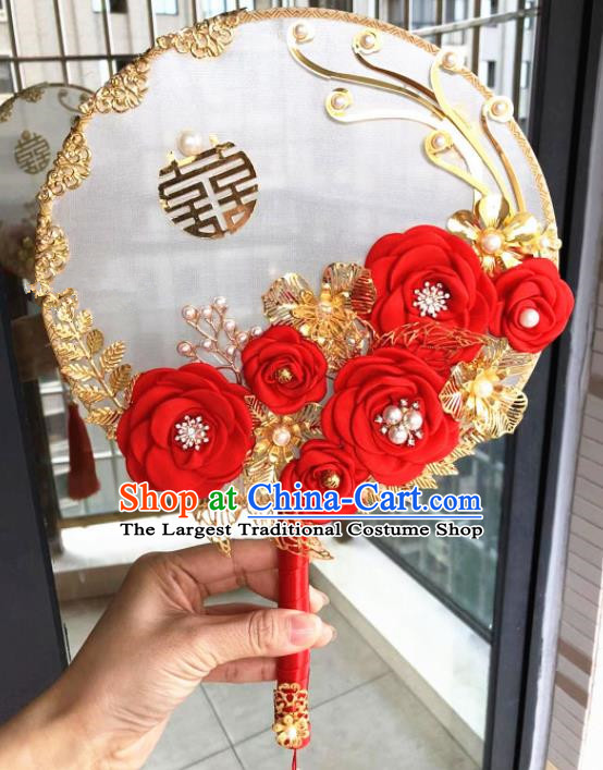 Chinese Handmade Bride Red Rose Flowers Palace Fans Wedding Accessories Classical Round Fan for Women