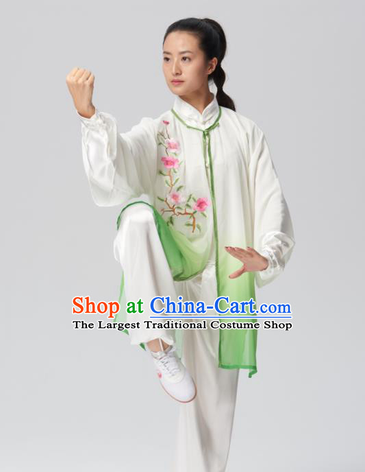 Chinese Traditional Kung Fu Tai Chi Group Embroidered Green Costume Martial Arts Competition Clothing for Women
