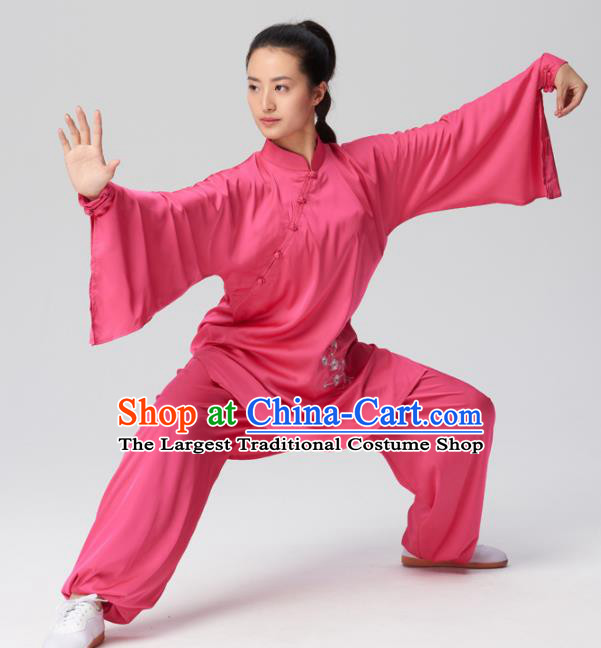Chinese Traditional Kung Fu Tai Chi Group Embroidered Rosy Costume Martial Arts Competition Clothing for Women