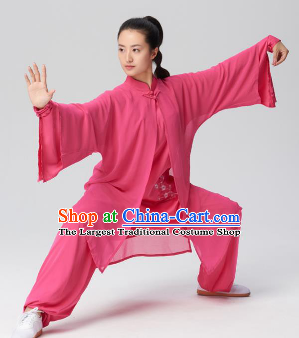Chinese Traditional Kung Fu Tai Chi Group Embroidered Rosy Silk Costume Martial Arts Competition Clothing for Women