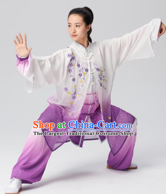 Chinese Traditional Tai Chi Group Embroidered Plum Blossom Purple Costume Martial Arts Kung Fu Competition Clothing for Women