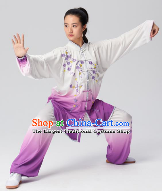 Chinese Traditional Kung Fu Tai Chi Group Embroidered Plum Blossom Purple Costume Martial Arts Competition Clothing for Women