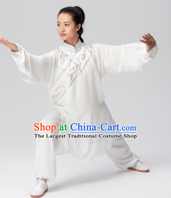 Chinese Traditional Tai Chi Group Embroidered White Costume Martial Arts Kung Fu Competition Clothing for Women