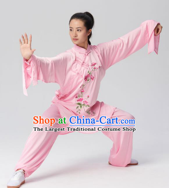 Chinese Traditional Tai Chi Group Embroidered Pink Costume Martial Arts Kung Fu Competition Clothing for Women