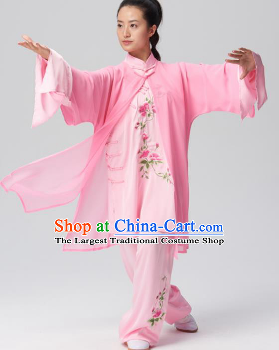 Chinese Traditional Tai Chi Group Embroidered Pink Silk Costume Martial Arts Kung Fu Competition Clothing for Women
