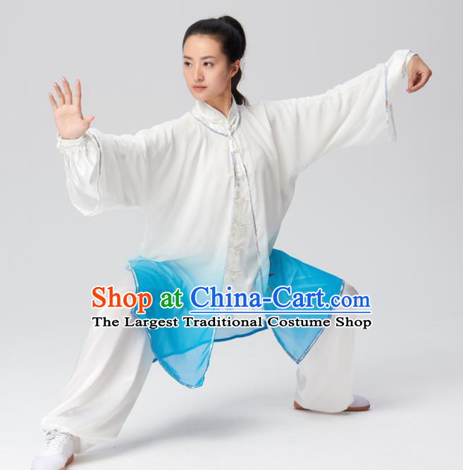 Chinese Traditional Tai Chi Group Embroidered Blue Silk Costume Martial Arts Kung Fu Competition Clothing for Women