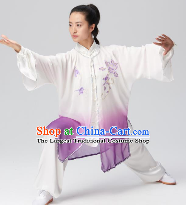 Chinese Traditional Tai Chi Group Embroidered Purple Silk Costume Martial Arts Kung Fu Competition Clothing for Women
