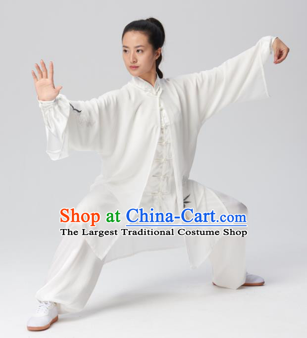 Chinese Traditional Tai Chi Group Embroidered White Silk Costume Martial Arts Kung Fu Competition Clothing for Women