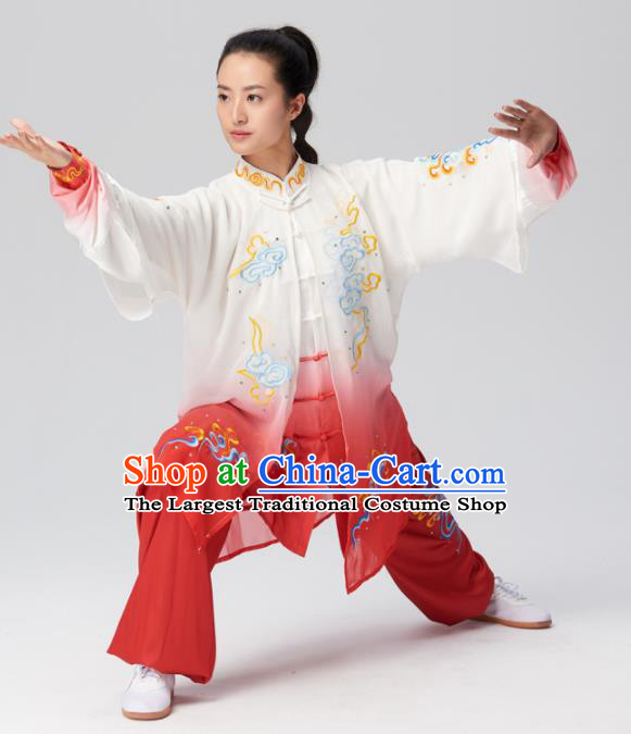 Chinese Traditional Tai Chi Group Embroidered Clouds Red Silk Costume Martial Arts Kung Fu Competition Clothing for Women