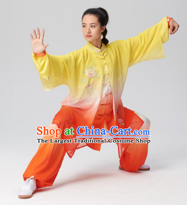 Chinese Traditional Tai Chi Group Embroidered Orange Silk Costume Martial Arts Kung Fu Competition Clothing for Women