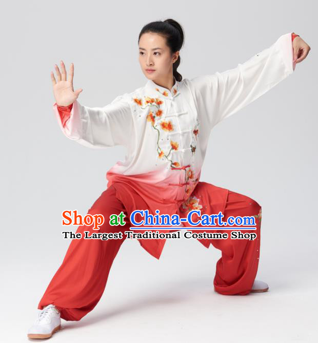 Chinese Traditional Tai Chi Group Embroidered Mangnolia Red Costume Martial Arts Kung Fu Competition Clothing for Women