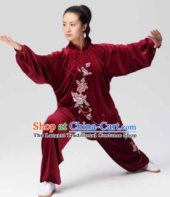 Chinese Traditional Tai Chi Group Wine Red Velvet Costume Martial Arts Kung Fu Competition Clothing for Women