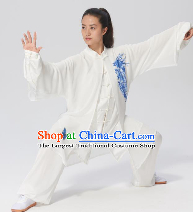 Chinese Traditional Tai Chi Group Printing Peony Silk Costume Martial Arts Kung Fu Competition Clothing for Women