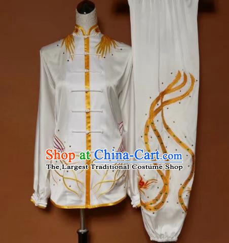 Chinese Traditional Tai Chi Group Embroidered Phoenix White Costume Martial Arts Kung Fu Competition Clothing for Women