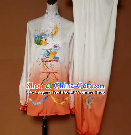 Chinese Traditional Tai Chi Group Embroidered Phoenix Orange Costume Martial Arts Kung Fu Competition Clothing for Women