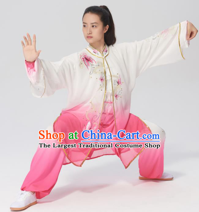 Chinese Traditional Tai Chi Group Embroidered Butterfly Rosy Costume Martial Arts Kung Fu Competition Clothing for Women