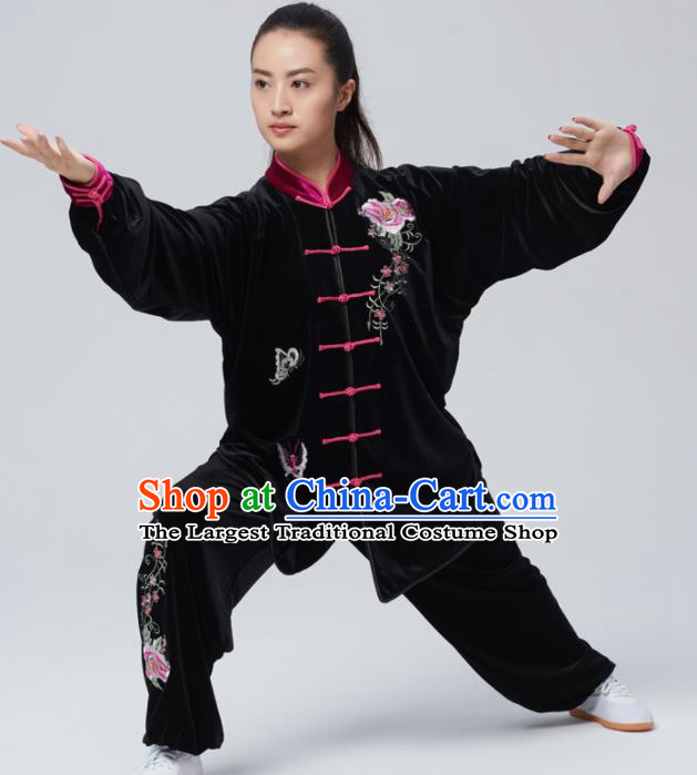 Chinese Traditional Tai Chi Group Embroidered Peony Black Velvet Costume Martial Arts Kung Fu Competition Clothing for Women