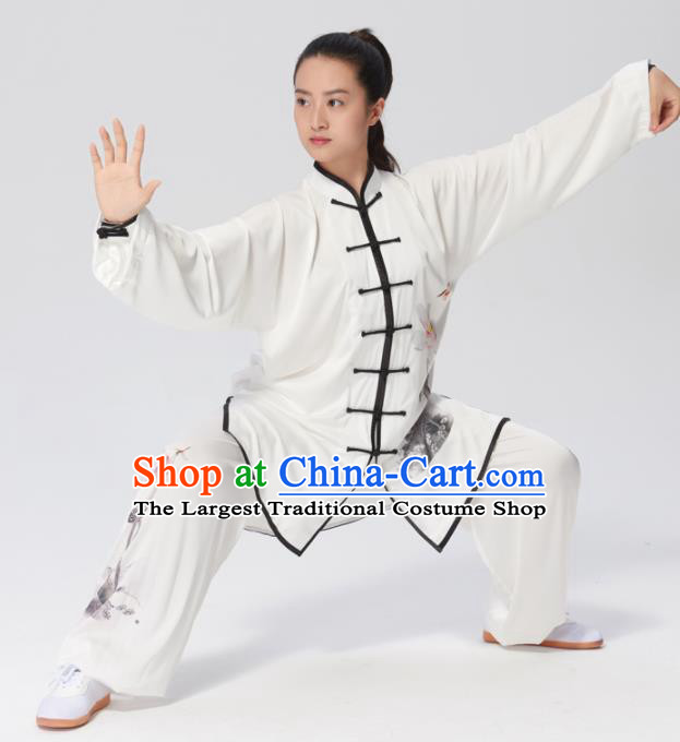 Chinese Traditional Tai Chi Group Ink Painting Lotus Costume Martial Arts Kung Fu Competition Clothing for Women
