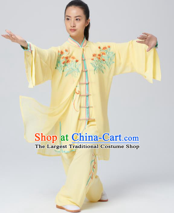 Chinese Traditional Tai Chi Group Yellow Costume Martial Arts Kung Fu Competition Embroidered Clothing for Women
