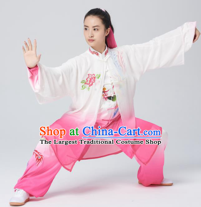 Chinese Traditional Tai Chi Group Rosy Silk Costume Martial Arts Kung Fu Competition Embroidered Phoenix Clothing for Women