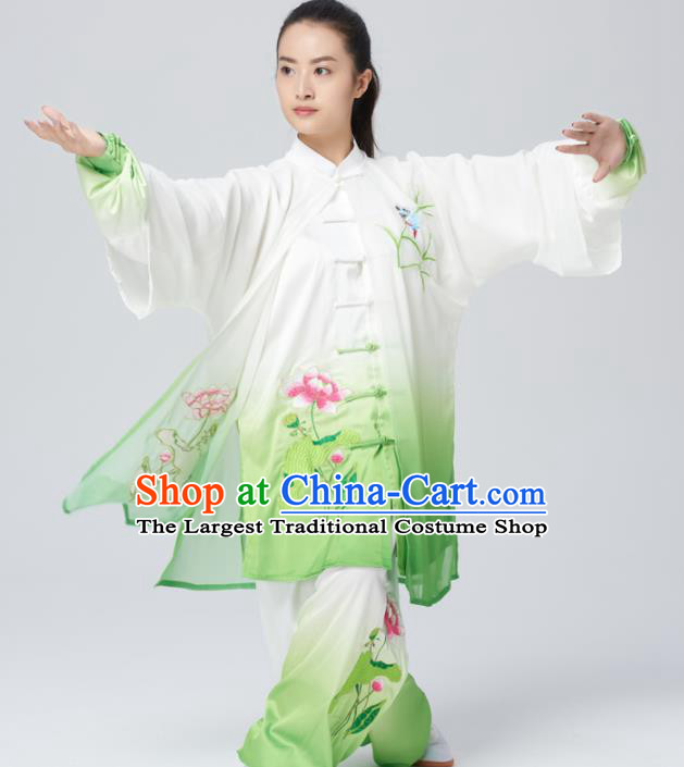 Chinese Traditional Tai Chi Group Embroidered Lotus Costume Martial Arts Kung Fu Competition Green Silk Clothing for Women