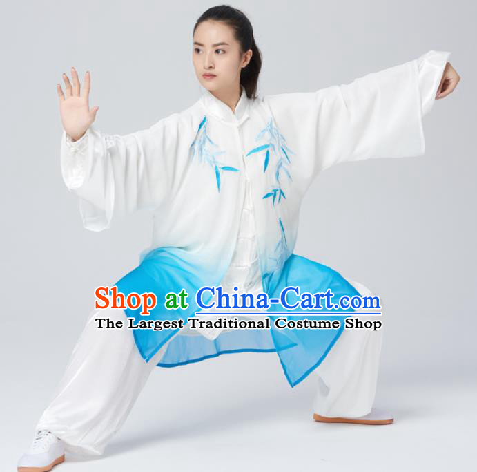 Chinese Traditional Tai Chi Group Embroidered Bamboo Blue Costume Martial Arts Kung Fu Competition Green Silk Clothing for Women