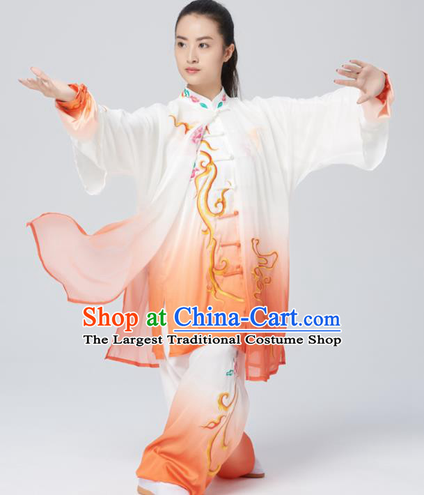Chinese Traditional Tai Chi Group Embroidered Orange Costume Martial Arts Kung Fu Competition Green Silk Clothing for Women